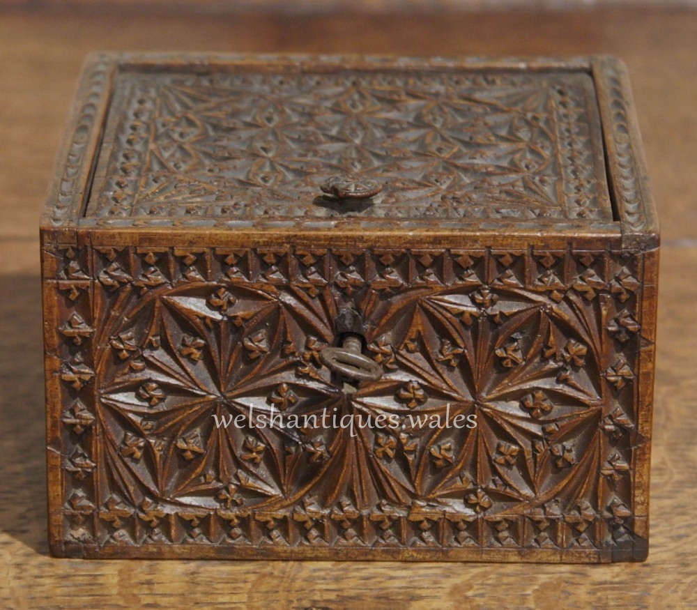 Small antique chip carved box or casket circa